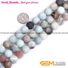 Natural Round Mixed Color Amazonite Beads Large Hole Jewelry Making 15''