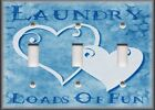 Metal Light Switch Plate Cover - Laundry Loads Of Fun Hearts Blue Laundry Room