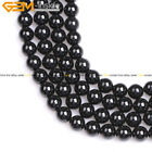 Natural Round Smooth AA Grade Black Spinel Gemstone Beads  Jewelry Making 15''