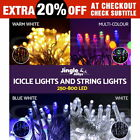 800 LED Christmas Icicle Lights String Outdoor Fairy Party Wedding Light