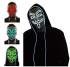 El Light Up LED Mask V for Vendetta Anonymous Guy Fawkes Costume Cosplay cool