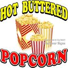 Hot Buttered Popcorn DECAL (Choose Your Size) Food Truck Concession Sticker