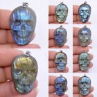 37-38mm Carved natural stone labradorite skull pendant *each one picture*