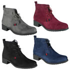 New Womens Ladies Faux Suede Low Heel Ankle Casual Work Lace Up Boots Shoes Size