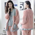 Women 3 piece Suit Winter Warm Pajama Sets Flannel Home Wear Sleepwear Nightwear