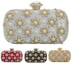 LADIES PEARLS DIAMANTE DAISY EVENING HARDCASE CLASP PURSE BRIDAL PROM CLUTCH BAG