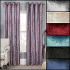 Crushed Velvet Effect Lined Ring Top Curtains Range (pair) - Free Postage