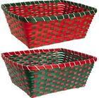 2 X WICKER BAMBOO STORAGE BASKETS FRUIT FOOD MAKE YOUR OWN HAMPER GIFT XMAS