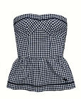 Abercrombie & Fitch Womens Navy Blue Check Strapless Tube Top Shirt XS Small