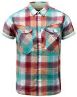 SALE!! NEW MENS FLY53 'AGILE' RETRO MOD TOP STITCH BLOCK CHECK SHIRT IN RED K39