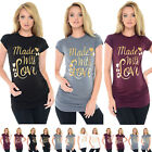 Purpless Maternity Made with Love-Gold Slogan Cotton Pregnancy Top T-shirt 2015
