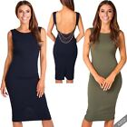 Womens Open Cowl Back Bodycon Pencil Knee Long Ladies Midi Dress Party Evening
