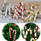 UK 10Pc Christmas Tree Mini Candy Cane Hanging Holiday Party Ornament Decor Cute