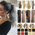 Real Natural Wrap On Hair Extensions Clip In Fake Hair Ponytail Brown Blonde TH6