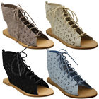 Beston DE40 Women's Perforated Laser-out Lace Up Front Flat Ankle Sandals