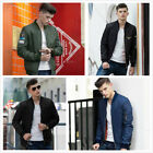 Fashion Men Casual Jacket Coat Zipper MA1 Army Flight Bomber Outerwear Overcoat