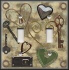 Metal Light Switch Plate Cover - Steampunk Decor Key To My Heart Skeleton Key
