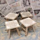 Maravi Wooden Foostool Small Table Rustic Shabby Chic Home Pattern Design Floral