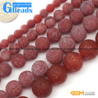 "Red Frozen Frost Agate Gemstone Round Beads Free Shipping 15"" 6mm 8mm 10mm 12mm"