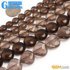 "Natural Smoky Quartz Gemstone Twist Coin Beads Free Shipping 15"" 8mm 10mm 12mm"