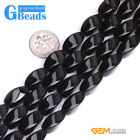 Natural Black Agate Gemstone Egg Twist Beads For Jewelry Making Free Shipping