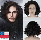 Game of Thrones Jon Snow Black Short Curly Wig Synthetic Cosplay Wigs New