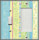 Metal Light Switch Plate Cover - Hearts Flowers Swirls Decor Blue Green Yellow