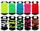 Ladies Neon Leg Warmers Stretch Fit Solid and Stripe Designs Dance Rave One Size