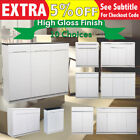 New Wooden Gloss Piano Finish Shoe Cabinet Storage Rack 80CM 120Cm 140CM White