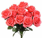 12 Open Roses ~ MANY COLORS ~ Bouquets Centerpieces Crafts Silk Wedding Flowers