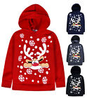 Kids Christmas Hoodie New Boys Girls Xmas Reindeer Rudolph Jumper Top 2 - 13 Yrs