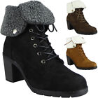 Womens Ladies Faux Suede Fleece Collar Lace Up Mid Heel Army Boots Shoes Size