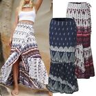 Women Summer Beach Party Side Slit Dress Plus Size Loose Long Maxi Floral Skirt
