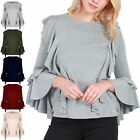 New Womens Ladies Long Bell Sleeve Waterfall Peplum Ruffle Frill Tee T Shirt Top