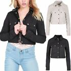 Womens Ladies Button Down Long Sleeve Collared Front Pockets Coat Cropped Jacket