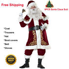 10pcs Mens Santa Claus Suit Deluxe Father Christmas Xmas Fancy Dress Costume