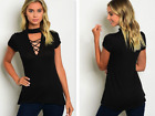 BLACK CHOKER TOP W/CHEST LACING (S, L)