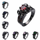 Pick Style Gothic Skull Sapphire Women Men 14KT Black Gold Filled Wedding Ring