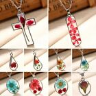 Women Natural Dried Real Rose Flower Cross Glass Pendant Necklace Sweater Chain