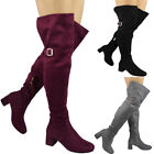 Womens Ladies Over The Knee Thigh High Boots Buckle Strap Mid Heel Shoes Size