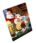 Old English Sheepdog Dogs and Puppies Santa Woven Throw Sherpa Blanket T156