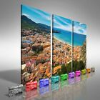 Aerial View Of Town Cefalu Sicily Treble Canvas Print Large Picture Wall Print