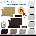 100% PIMA Cotton - Pair ( 2 ) 400tc QUEEN Sized Pillowcases Fits Bamboo Pillows