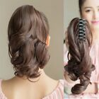 Lady Girls Black/Brown Ponytail Claw Hairpiece Short Wavy Curly Hair Extension