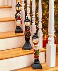 Lighted Holiday Lampposts Decorations Snowman, Bear and Santa Cold Cast Ceramic
