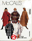 McCalls 7895 Misses 2 Hour Capes Sewing Pattern ***