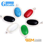 Fashion Black Green Red Oval Beads Silver Pendant 20x37mm Free Gift Box +Chain
