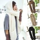 Women Warm Winter Cotton Hooded Cap Earflap Hat Long Scarf Shawl Wrap Gloves W