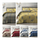 Stag Red Check Reversible Duvet Quilt Cover Bedding Set Single Double King