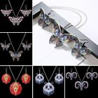 Vintage Printing Owl Cat Pendant Necklace Earrings Jewelry Set Christmas Gift